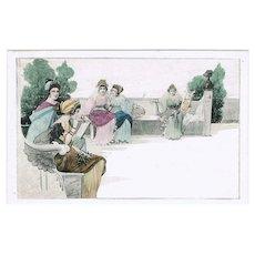 Art Nouveau Postcard, Girls on Benches, Munk