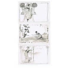 Set of 6 Art Nouveau Postcard, Girls, Munk