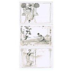 Set of 6 Art Nouveau Postcard, Girls, Munk