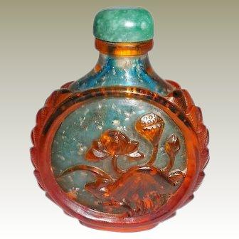 Peking Glass Snuff Bottle with Flower Motif