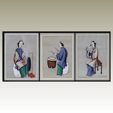 3 old Chinese Paintings of Female Musicians