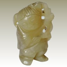Antique Chinese Jade Boy with Plant Hand Carved