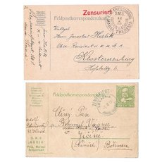 2 Censored Postal Cards from Ships, WW1 Austria