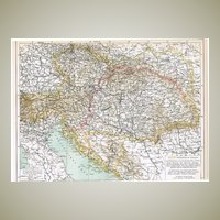 Austro-Hungarian Empire. Old Map from 1904