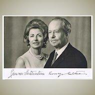 Franz Joseph II, Prince of Liechtenstein and Wife Gina Autographs on Photo.