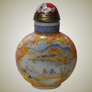 Chinese Porcelain Snuff Bottle, enameled Porcelain