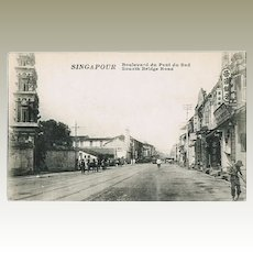 Old Singapore Postcard South Bridge Road
