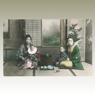 Japanese Postcard Ladies with Children