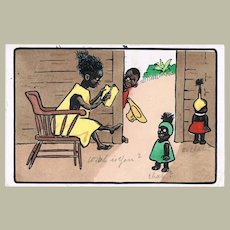 Cute Vintage Postcard with Black Family