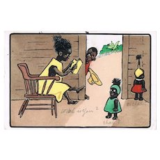 Funny vintage Postcard with Black Family