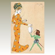 Art Nouveau Postcard Lady with Child