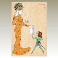 Art Nouveau Postcard Lady with Child