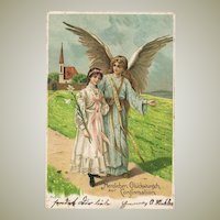 Vintage Postcard with Guardian Angel