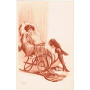 Vintage Postcard with semi-nude Lady and Cat