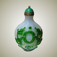 Chinese Overlay Snuff Bottle Dragon Motif