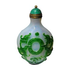 Chinese Overlay Snuff Bottle Dragon Motif