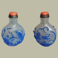 Chinese Overlay Snuff Bottle Bird of Paradise