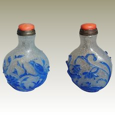 Chinese Overlay Snuff Bottle Bird of Paradise