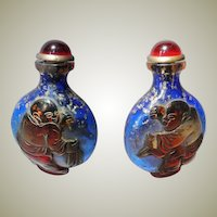 Old Chinese Snuff Bottle blue red with Boy