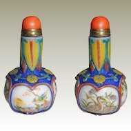 Chinese overlay Snuff Bottle Porcelain with Paintings