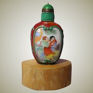 Old Chinese Snuff Bottle enameled Porcelain