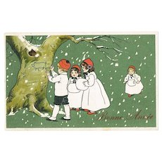 New Year Postcard with Children