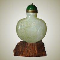 Nephrite Jade Snuff Bottle , hand carved