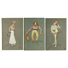 Set of 3 Tennis Motif Postcards 1904