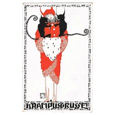 Scarce Krampus Postcard Art Nouveau