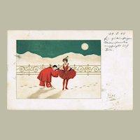 Pierrot and Pierrette vintage Postcard 1905