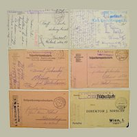 Lot of 6 Postcards with Railway Cancellations Austria 1915-17