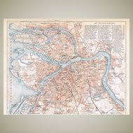 Russia Saint Petersburg Map from 1900