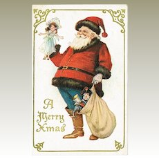 Christmas Postcard with Santa and Doll