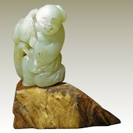 Antique Chinese Jade Boy with Flower
