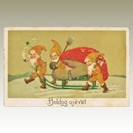 Vintage New Year's Postcard with 3 Dwarfs and Fly Agaric