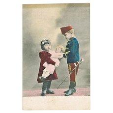 Vintage Postcard Children with Doll