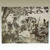 Old Chinese Photo German Marines and Children