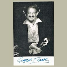Guiseppe Taddei Autograph on Photo. CoA
