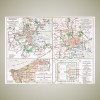 American Parkways Antique Litho Map from 1900