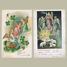 Two Postcards with Angels, Christmas and New Year