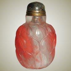 Chinese Snuff Bottle Peking Glass Lotus Motif