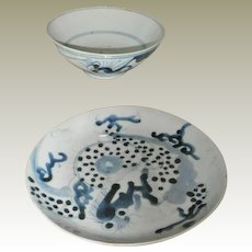 Chinese Bowl and Plate End of Ming