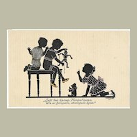 Cute Vintage Postcard Children with Toys