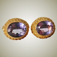 Pair of Vintage Gilt Silver Ear Studs with Crystals