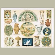Ceramics. Two Chromolithographs from 19th Century