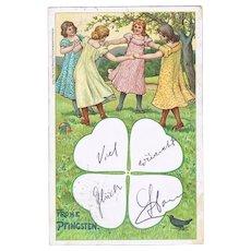 Pentecost Vintage Litho Postcard with Dancing Girls. 1902