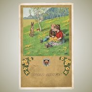 Happy Easter. Vintage Postcard with Children and Easter Bunny