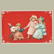 Art Nouveau Postcard with four Children playing Lithographed