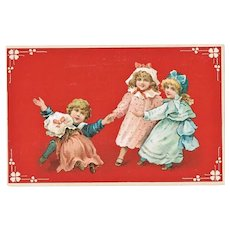 Art Nouveau Postcard with four Children, playing. Litho.