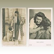 Two Movie Stars and their dogs. Vintage Photo Postcards
